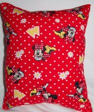 NEW HANDMADE DISNEY MINNIE MOUSE FLANNEL TRAVEL TODDLER PILLOW - RED FLORAL