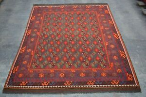 F3008 Vintage Handmade Afghan Tribal Wool Kelim Ghallmori Area Rug 8x10 Feet