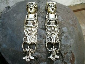 Vintage Pair Brass Beautiful Lady Foot For Furniture Leg End Caps Leg Covers