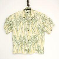 Tommy Bahama Mens Hawaiian Shirt XL Light Yellow Green Bamboo Print Silk Casual