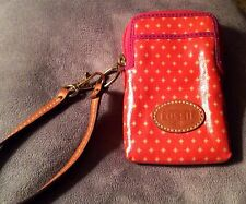 Fossil Cell Phone Wristlet Orange Yellow Stars Pink Trim leather Strap