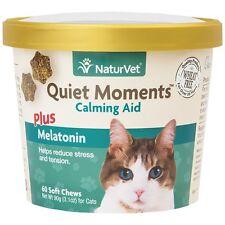 NaturVet Quiet Moments Calming Aid Plus Melatonin for Cats 60 Soft Chew