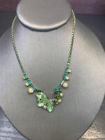 "Vintage D&E Juliana Emerald Green AB Glass  Rhinestone cluster Necklace 15"""