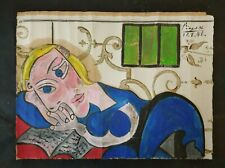 PABLO PICASSO      OIL PAINTING ON ORIGINAL WALLPAPER OF THE 40s