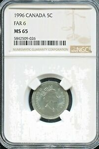 """CANADA  - SPECTACULAR QE II """"TOP POP""""  5 CENTS, 1996 (FAR 6), KM# 182, NGC MS 65"""