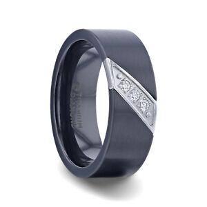 JAGUAR Flat Brushed Black Titanium Men's Wedding Band with Small Silver-Coated