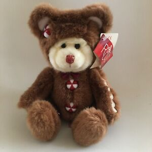 """NEW Russ Berrie Cookie Plush Bear Gingerbread Man Candy Buttons 9"""" Soft Toy"""