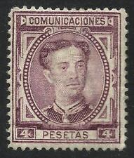 EDIFIL 181* 4 Pesetas 1876 Alfonso XII  (ligera marca de fijasellos)