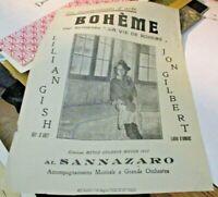 Boheme Flyer Original Cine Sannazaro 1927L. Gish J.Gilbert