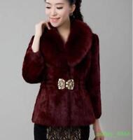 faux Rabbit Fur Womens Coat Jacket Fur Collar Overcoat Garment Short Outwear