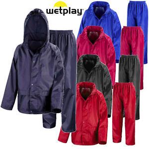 Childs Waterproof Suit Jacket & Trousers Rain Set Kids Childrens Boys Girls Hood