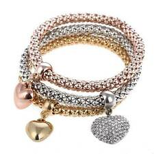 *UK* Ladies 3 set Rose Gold silver Gold heart bracelet bangle jewellery gift new