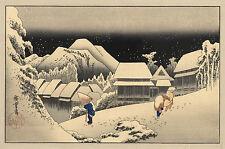 Japanese Art: Hiroshige Landscapes: Kanbara Station in the Snow - Fine Art Print