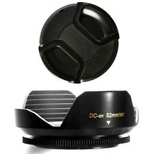 52mm Wide Lens Hood and Lens Cap for Panasonic Lumix DMC-G1,GH1,GF1,G10,G2,GH2