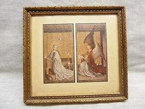 vintage picture frame and print annunciation stephan lochner cologne cathedral