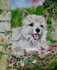 More details for cairn terrier dog new original oil painting sandra coen artist canvas