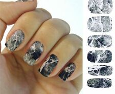 Grey stone Nail sticker decal 2 sheets fingernail manicure dark full set marble