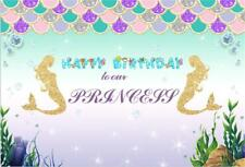 Happy Birthday Party Photography Background Seabed Golden Mermaid Photo Backdrop