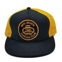 Vintage 80s WPG Beach Curling Club Patch Truckers Hat Mesh Cap Snapback