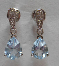 *Estate~1.90 cts Aquamarine & Diamond Accent 925 Sterling Silver Dangle Earrings