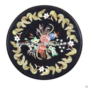 Marble Round Coffee Table Top Semi Precious Inlaid Mosaic Furniture Gifts H3724