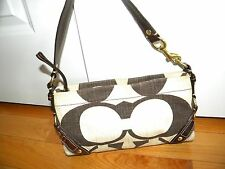 COACH CARLY SMALL SHOULDER BAG  BROWN & IVORY CANVAS 10793