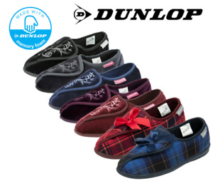 Ladies Dunlop Touch Fasten Washable Memory Foam Wide House Comfy Lounge Slippers
