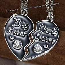 2 Matching Heart Silver Sisters Necklace Best Friend Xmas Jewellery Gift For Her
