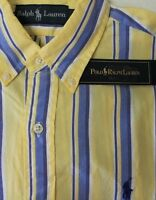 NWT $98 Polo Ralph Lauren Oxford LS Shirt Mens S Yellow Stripe 100% Cotton NEW