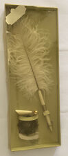 Victoria Lynn Ivory Feather Plume Pen with Holder Wedding Ceremony Reception New