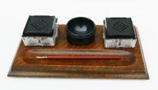 More details for unusual 1924 art deco s & d criterion oak / bakelite / chrome inkwell desk stand