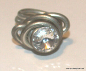 Amazing Large  ARt to Wear Rock Crystal Silver Unusual Ring 7 Large