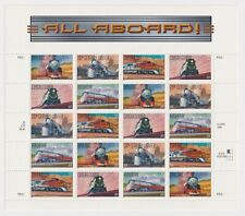 """1998 Usps Locomotive Stamp Sheet """"All Aboard"""" Twenty 33¢ Stamps"""