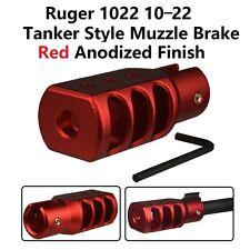 Slip On Set Screws Tightened Ruger 1022 10/22 Muzzle Brake Tanker Style Al Red