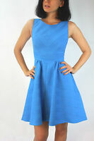 Karen Millen Blue Stripe Texture Skater Cocktail Party Shift Mini Dress 6 - 14