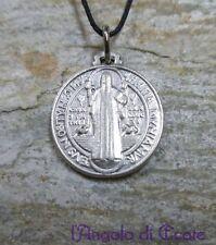 Medaglia amuleto talismano protezione SAN BENEDETTO tinta argento - diam. 1,8 cm