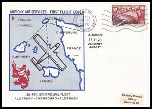 1970 France Aurigny Air Services First Flight Alderney-Cherbourg Cover