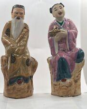2 Chinese Mud Men glazed figurine Holding Basket Old Man Marked China Red