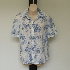 'FELLA HAMILTON' EC SIZE '8' BLUE & WHITE FLORAL SOFT FABRIC SHORT SLEEVE SHIRT