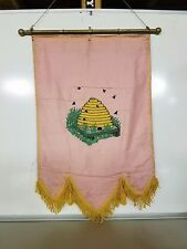 Odd Fellows Banner Embroidered Vintage Pink Beehive Maine Lodge 90