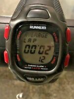 Active Runner's World 100 Lap Sports Chrono Alarm Watch Black Straps - 5ATM