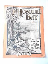"Vintage ""On Honolulu Bay"" Sheet Music Dated 1915 Large Format"