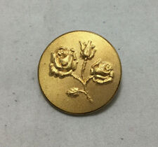 Vintage Metal Picture Button - Gold Brass Rose - Large