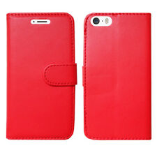 Magnetic Flip Wallet Leather Case Cover for Apple iPhone 5 5c 5s Screen Guard Plain Red I Phone 6