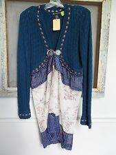Refashioned Upcycled Tied Cardigan Sweater W/Extension Polyester Material S: M