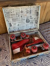 "Roller Skates 5M Red Suede/White Trim from the 70""s with carry case Kryptos"