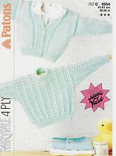"Vintage Baby Knitting Pattern, Cardigan Sweater 16-24"" 4 ply"