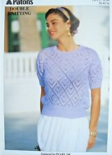 """Knitting Pattern Ladies Pretty Lace Summer Top 32-42"""" Patons 4760 Pearl DK"""
