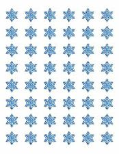 "48 BLUE SNOWFLAKE ENVELOPE SEALS LABELS STICKERS 1.2"" ROUND"
