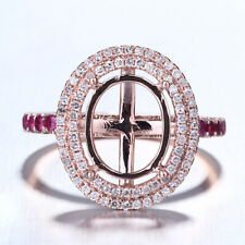 Vintage Antique Ring Solid 18K Rose Gold 9x11mm Oval Semi Mount Diamonds Rubies